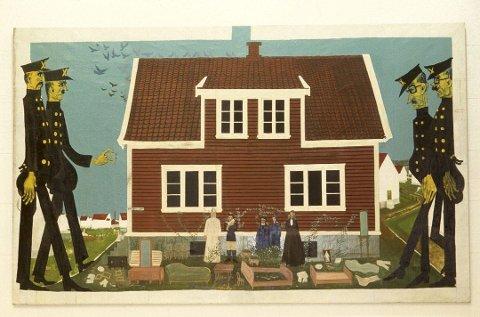 Utkastelsen av Bendik Riis. Finn Krohn mener han egen bryggesak godt lar seg illustrere ved dette bildet.