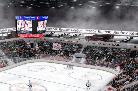 Får to isflater: Arena Fredrikstad skal bli Stjernens nye storstue, og den høye kapasiteten vil også åpne for frigåing og et stort antall besøkere gjennom hele uken. (Arkivfoto: FB)