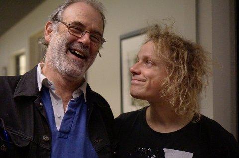 TOPP STEMNING: Burgess og Moddi møttes under et arrangement på Litteraturhuset i 2017. - En ære å snakke med selveste Richard Burgess, skrev Moddi på sin twitterkontro @moddimusikk