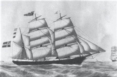 Viktig for byen: Barken Amazone ble bygget i 1858 av J. Diercks i Wittenbergen i Hamburg.