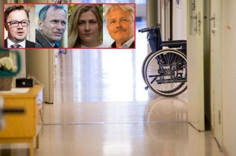 Verken Atle Ottesen (Ap), Truls Velgaard (H), Hannah Berg (Rødt) eller Bjørnar Laabak (Frp) vil være med på at det var uforsvarlig å pålegge helse- og velferdsseksjonen tøffe innsparingskrav i år. De er alle sterkt bekymret for situasjonen nå.