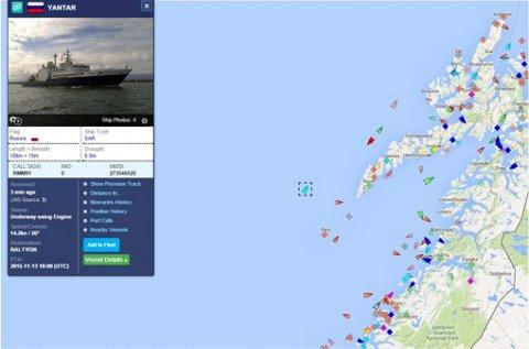 UTENFOR LOFOTEN: Her ligger det russiske farøyet i øyeblikket. Foto: Skjermdump fra Marine Traffic