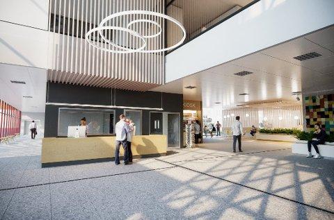 TEGNING: Slik ser arkitekten for seg inngangen på det nye sykehuset. Nå stilles det spørsmål om det er forberedt på en fremtidig pandemi.