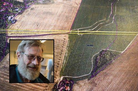 DELE I TO: De gule strekene er den nye jernbanen. Nederst på bildet gården til Harald Syvertsen som vil få jord på begge sider av jernbanen. Helt til venstre bebyggelsen på Teien.