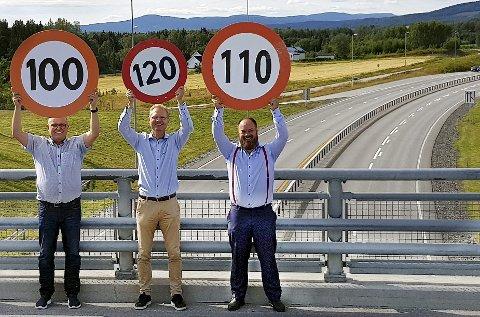 FRP-FART: Johan Aas (t.v.), Tor André Johnsen og Truls Gihlemoen krever igjen minst 100 kilometer i timen som fartsgrense på E 16.FOTO: PRIVAT