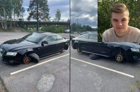 BORTE VEKK: Dette synet møtte Markus Lefdal (innfelt) søndag, etter at en tilfeldig forbipasserende hadde sendt ham en melding om at bilen var et trist syn.