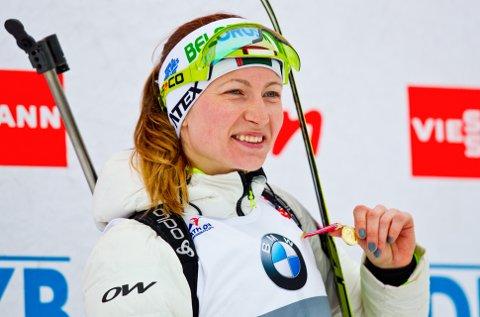 BRUD: 7. juli sto den hviterussiske skiskytterstjernen Darya Domracheva brud i Sjusjøen fjellkrike. Foto: Vegard Grøtt / NTB scanpix