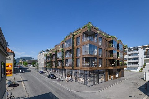 Fasade i tre, glass og mye grønt. Muligheter for bakeri på gateplan, og felles takterrasse og stue. Slik presenteres det nye leilighetskomplekset i Kirkegata i Lillehammer.