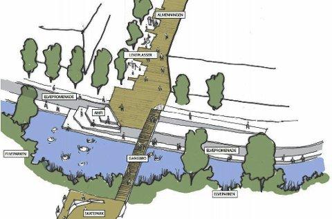 Torgallmenningen? Slik mener arkitektene at en elvepark og et nytt torg i Brandbu kan bli. Illustrasjon: Pir II