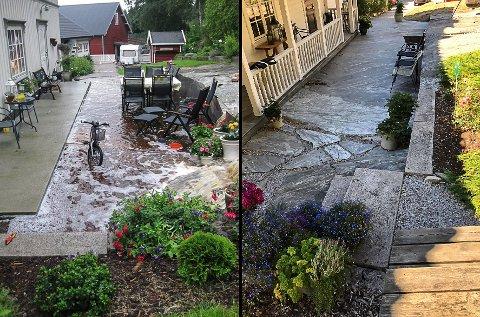 STOR FORSKJELL: Det er nøyaktig åtte år mellom disse bildene fra inngangspartiet hjemme hos Hedda og Øivind Brække i Buergatene. På denne dagen i 2010 kom det 50 mm nedbør på en times tid.