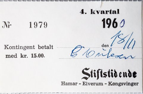 BETALT: Bekreftelse på at man i 1960 har betalt 4. kvartal av abonnement på avisen Stiftstidende.