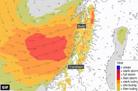 Tirsdag og onsdag skal det igjen blåse mye på Helgeland.