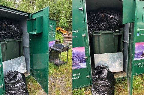 MISBRUK: Her har noen vært og misbrukt samlingspunktet for fritidsrenovasjon.  – Det er verst på sommerstid og det kan selvfølgelig være turister, men vi har funnet avkapp av byggmateriale i de svarte søppelsekkene, sier Ronny Aanes.