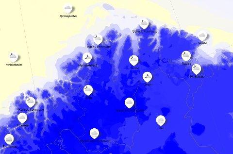 Slik ser værkartet til yr.no ut tirsdag kveld. I Karasjok er det 11 minusgrader – noe som er 8 grader varmer enn bunnoteringa mandag denne uka.