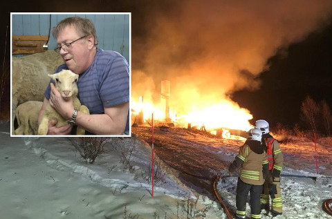 BRANN: Her jobber brannvesenet med å slukke brannen på hytta. Til venste er hytteier Terje Johan Ellila (74) avbildet.