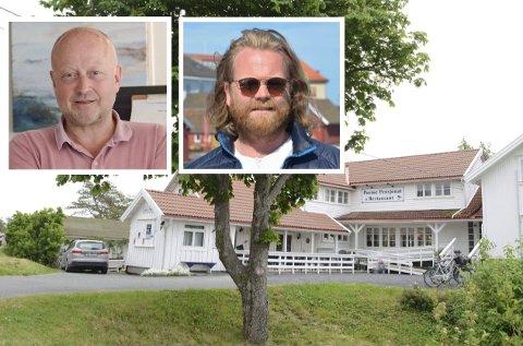 EIENDOMSUTVIKLERE: Ole Johan Tollefsen (t.v.) og Christian Hestenes eier Portør Pensjonat sammen med Peder Erik Rinde og Odd Anders Repshus.