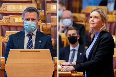 Sylvi Listhaug (t.h) ber helseminister Bent Høie svara om eldreomsorga i Kvinnherad.