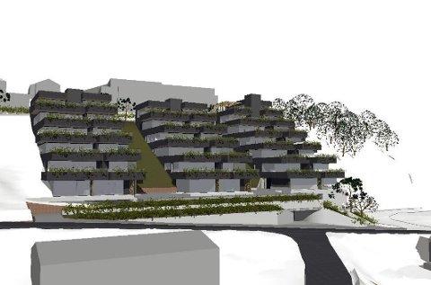GODKJENT: I Øvre Lianvei er det planlagt 30 boenheter fordelt på tre bygninger. Prosjektet er møtt med naboprotester, men ble vedtatt lagt ut til offentlig høring. SKISSE FRA SAKSFRAMLEGGET