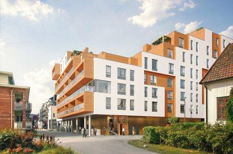 NYTT BYGG: Slik er det tenkt at det planlagte Fagerborgkvartalet i Lillestrøm skal se ut når det ferdigstilles i 2022. Foto: BN Bolig