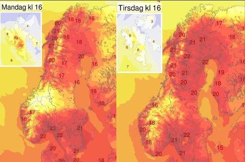 Slik er temperaturprognosene for mandag og tirsdag. Flere steder i Lofoten er det meldt opp mot 20 grader.