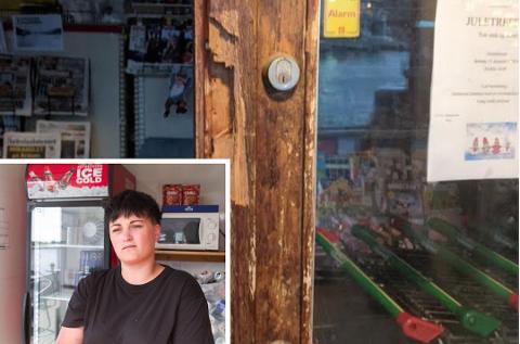 INGEN PÅGREPET: Det er ikke noen mistenkte etter innbruddet i nærbutikken i Korshamn. Line Berge er innehaver av butikken - gram til nyttår.