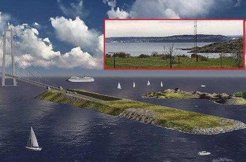 JELØY: Skissen viser et tenkt innslagspunkt på en kunstig øy utenfor Guldholmen. ILLustrasjon: Statens vegvesen