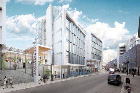 STOR- OG STRANDGATA: Bygget i Storgata 25 vil stå ferdig i begynnelsen av 2020.