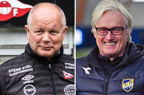 SOLID START: Både Per-Mathias Høgmo og Bård Flovik har fortid som trener i TIL. Nå leder de Fredrikstad og Alta i 2.divisjon, og begge hadde fått en perfekt start i sine nye klubber med to seire inntil lørdag. Da gikk Alta på sesongens første tap med Fredrikstad spilte uavgjort.