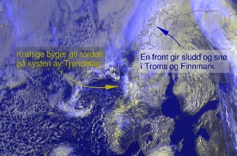 SNØBYGER I NORD: Lavtrykket vil gi betydelige nedbørsmengder i Troms og Finnmark.