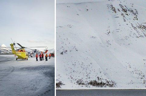 Til høyre ser man skredet som har startet høyt oppe i fjellet og gått over veien. Til venstre er redningsarbeiderne som jobbet med å gjennomsøke skredet. Foto: Norsk folkehjelp