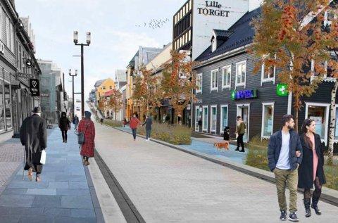 NY GÅGATE: Slik kan det bli seende ut i den nordlige delen av gågata i Tromsø om politikerne går for full oppgradering.