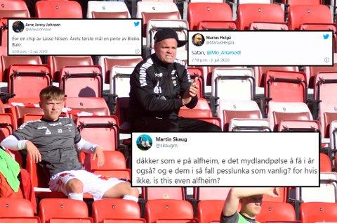 SOFASUPPORTERE: Kun 200 tilskuere fikk plass på tribunen sammen med Gaute Helstrup. Det førte til at mange så kampen hjemmefra.