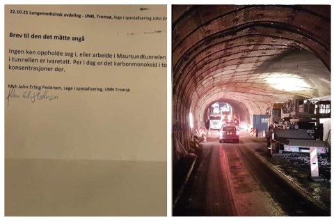 ADVARER: Lege advarer om karbonmonoksid i Maursundtunnelen ved Kågen mellom fastlandet og Skjervøy.