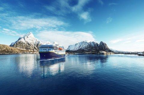 BYGGES NÅ: Havila bygger fire skip før de skal tre inn i Kystrute-avtalen ved årrskiftet, men bare to av dem blir ferdige i tide. Her en illustrasjon fra Lofoten.