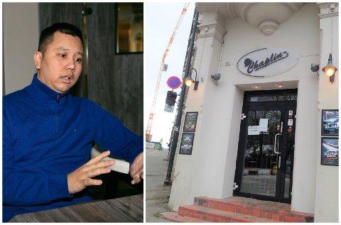 VANSKELIG: Eier og daglig leder Khuay Dang på Chaplin Café sier det er bortimot umulig for betjeningen å påse at alle gjestene følger smittevernreglene. Lørdag ble utestedet anmeldt for brudd.