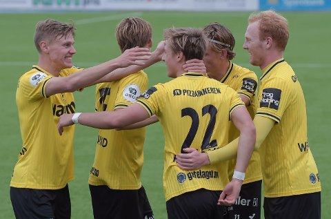 MER JUBEL? Markus Johnsgård (t.v.) jubleT sammen med Markus Aanesland, Markus Karlsbakk, Nicolai Fremstad og Sivert Westerlund mot KFUM. Onsdag står HamKam for tur.