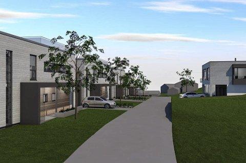 Flate tak: I første byggetrinn skal FG Bolig AS føre opp åtte kjedede eneboliger og en tremannsbolig på eiendommen Gartnerløkka i Tolstrupveien på Rekkevik.Tegning: PV Arkitekter