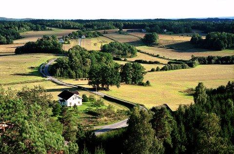 ROLIGHETEN. Utsikt fra Rolighetsåsen mot Roligheten gård nederst og Rauan-gårdene i bakgrunnen. Dette gamle kulturlandskapet er rangert som et av de mest verneverdige i Vestfold.