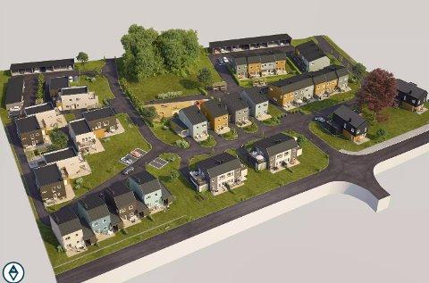 SLIK BLIR DET: Slik skal boligområdet på Lillejordet bli når det er klart. Her sees området med Gamle Stavernsveien i forgrunnen.