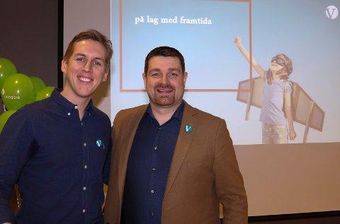 OPTIMISTER:  Valgkampleder, Kristian Botten Pedersen, til venstre, og førstekandidat Ole Frode Mikkelsgård er optimister og tror på stortingsplass.