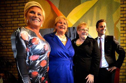 Etter 2013-valget: Frp leder Siv Jensen, Høyre leder Erna Solberg, venstre leder Trine Skei Grande og KrF-leder Knut Arild Hareide. Foto: Vidar Ruud, ANB