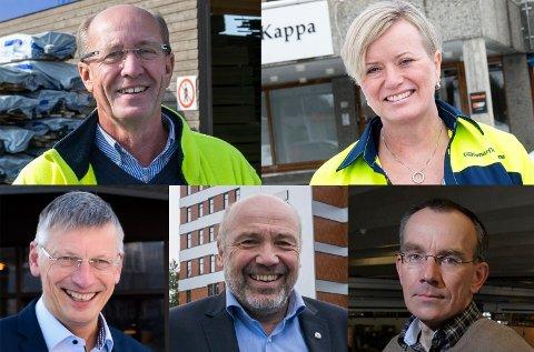 SER INN I 2020: Atle Nilsen (øverst til venstre), Wenche Ravlo, Steinar Haugli, Ole Sunnset og Kjetil Gjerdalen.
