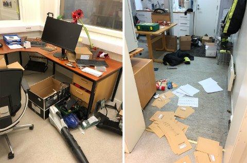 Slik så det ut inne på kontoret til siloen torsdag morgen.
