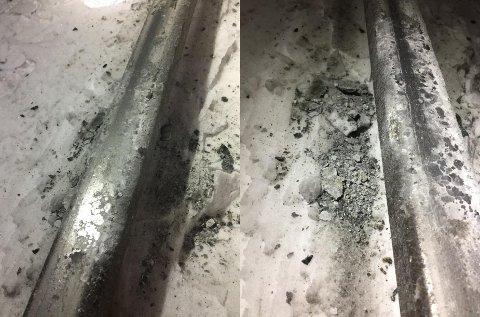 FARLIG: Vandalene la pukkstein på skinnene ved Lillestrøm stasjon. Det kan i verste fall føre til avsporinger, mener Bane Nor. ALLE FOTO: Signalvakt Lillestrøm, Bane Nor