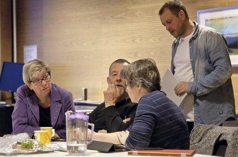 KRITISK: Merete Haug (nr. to fra høyre) er kritisk til at det planlegges utbygging på Verpen. Fra venstre: Gerd Eva Volden (Ap), Martin Berthelsen (SV), Merete Haug (V) og Thomas Hatten (Ap). Arkivfoto: Henning Jønholdt