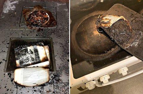 GJENGANGER: Både lørdag og søndag kveld måtte brannvesenet rykke ut til komfyrbranner. Her brant det i henholdsvis en bruksanvisning og en skjærefjøl.