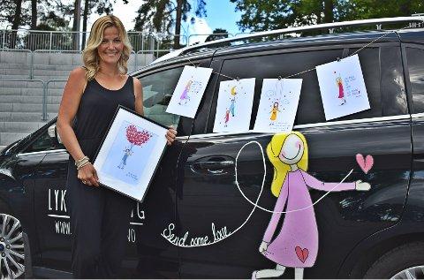 GRÜNDERDRØM: Ingebjørg Rangøy Sjåland har kommet langt med Lykketegning. Hun tilbyr i dag ulike  tegninger, produkter og har til og med egen Lykketegning-bil.