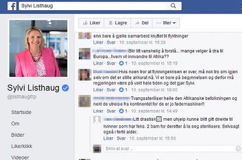 Skjermdump av Facebook-sidene til innvandrings- og integreringsminister Sylvi Listhaug (Frp).