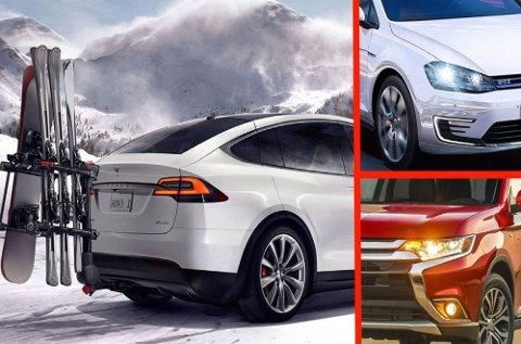 Tesla Model X (over) kommer senere i år. Samtidig er de ladbare hybridene i kraftig økning. To av bestselgerne er VW Golf GTE og Mitsubishi Outlander PHEV.
