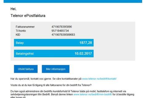 Mange har mottatt denne eposten tirsdag. Det er en såkalt phishing-mail og kommer ikke fra Telenor, noe selskapet selv varsler om.